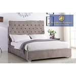 Tufted Velour Bed Frame (Blue, Light Grey, or Dark Grey )