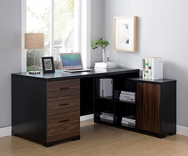 Black and Dark Walnut Office Desk