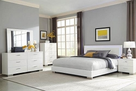 Felicity Panel Bed With LED Lighting Glossy White