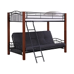 Collins Twin over Futon Bunk Bed Black and Cinnamon