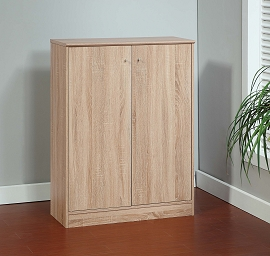 Claudia Weathered White Wood Shoe Cabinet