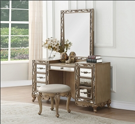 Orianne Antique Gold Finish Vanity Set