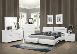 Glossy White Bed