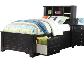 Twin or Full Storage Bed in Black Finish