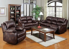 ZANTHE - Brown Polished Microfiber Motion Sofa