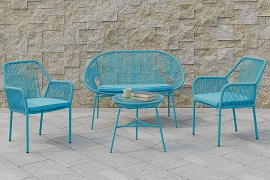 4 Pcs  Steel Frame  Patio Set - Green or Blue