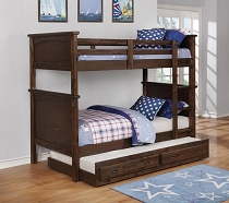 Kinsley Rustic Country Brown Twin-Over-Twin Bunk Bed