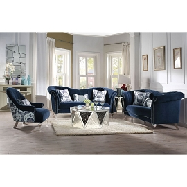 JABOROSA - Blue Velvet Sofa Set w/ 3 Pillows