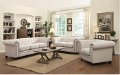 Beige Roy Traditional Button-Tufted Sofa with Rolled Back and Arms