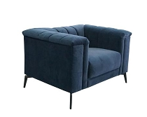 Chalet Transitional Navy Blue Velvet Chair