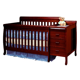 Convertible 3-1 Crib with Changing Table, Equipped with 2 Drawers and 2 Unit Shelves