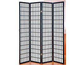 4 Part Black Finish Panel Shoji Screen Room Divider