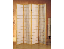 4 Part Natural Finish Panel Shoji Screen Room Divider