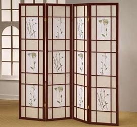 4 Part Cherry Finish Panel Shoji Screen Room Divider
