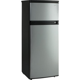 7.4 Cu. Ft Top Freezer Apartment Refrigerator in Black/Platinum or white