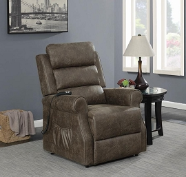 Power Lift Recliner Upholstered in Brown Coated Microfiber