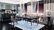 A&X Baccarat Black Crocodile Dining Set