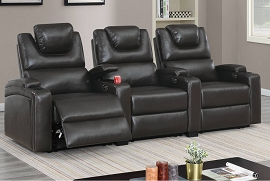 3 or 4 Pcs Straight Movie Theater seats with Power Modular Reclining System- Red or Espresso