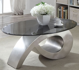 Viggo Satin Plated and Smoky Glass Coffee Table