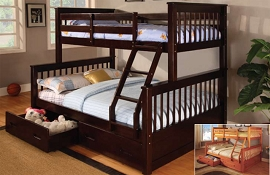 Twin/Full Wooden Bunk Bed