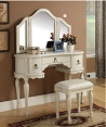 Trini White Finish Vanity Set
