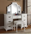 Torian White Finish Vanity Desk and Stool