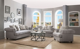 GARDENIA - Gray Fabric Sofa Set w/ 4 Pillows