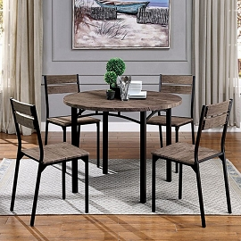 5 Pcs Dining Table Set - Round Wood
