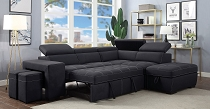 ATHENE - Contemporary Dark Gray Fabric ONLY Sectional W/ Sleeper (Out of stock, Call store for ETA)
