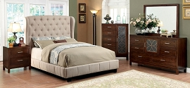 Ivory Finish Contemporary Style Padded  Bed Frame