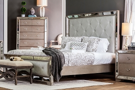 Loraine Glam Style Antique Mirror Bed