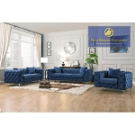 Grey or Blue Velvet Sofa with Loveseat, and Chair option (Out of Stock: Restock ETA: 08/01/20)