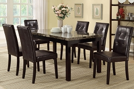 7 Piece Faux Marble Top with Faux Leather Chairs Set