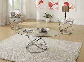 3-Pcs Occasional Table Set with Spinning Circles Base Design-Includes Cocktail Table & Two End Tables - Chrome Finish