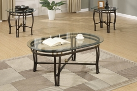 3 Piece Bronze Metal Coffee Table Set