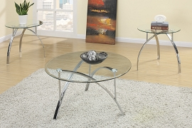 3 Piece Coffee Table Set Round Clear Tabletops with Shiny Silver Arched Legs