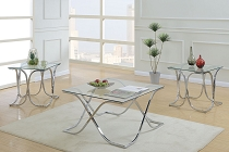 3 Pcs Glass and Metal Coffee Table Set