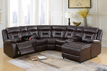 Poundex  5 pc collection dark brown gel leatherette sectional sofa with chaise and recliners