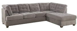 2-Pcs Waffle Suede Sectional Sofa with Ottoman