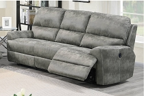 Power Motion Grey Leatherette Sofa Recliner