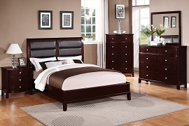 Black Leather Modern Style Bed Frame