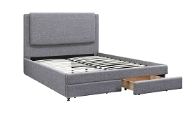Grey Linen Bed Frame with Drawers