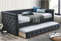 Charcoal Velvet Button tufted design Bed w/ Slats + Trundle