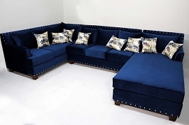 Graffiti Blue Sectional with Chaise