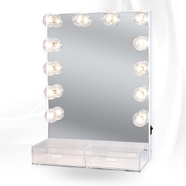HOLLYWOOD CRYSTAL XL VANITY MIRROR WITH ACRYLIC DRAWERS