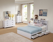 Bookcase Headboard Chest Bed - White or Dark Taupe