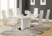 5 Piece White Table & White Upholstered Chairs Set