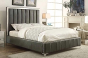 Jared Grey Leatherette & Stainless Steel Bed Frame