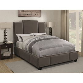 Lawndale Upholstered Bed in Grey Velvet