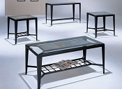 3-PC Coffee / End Table Set - Glass & Slate